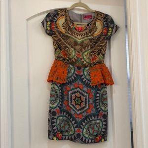 hemant and nandita sunchart peplum dress size 0P
